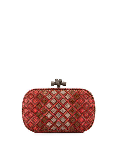 Bottega Veneta Small Knot Snakeskin Box Clutch Bag
