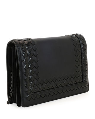 Image 2 of 2: Leather Shoulder Bag with Snakeskin Trim