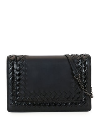 Image 1 of 2: Leather Shoulder Bag with Snakeskin Trim