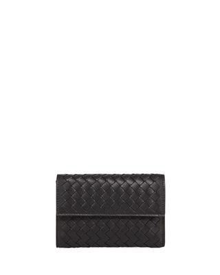 Image 1 of 2: Woven Leather Tri-Fold Wallet