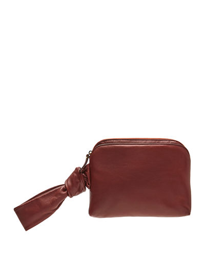 Zip-Top Leather Wristlet Bag