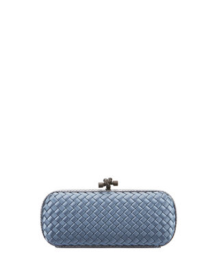 Satin-Snakeskin Stretch Knot Minaudiere Bag