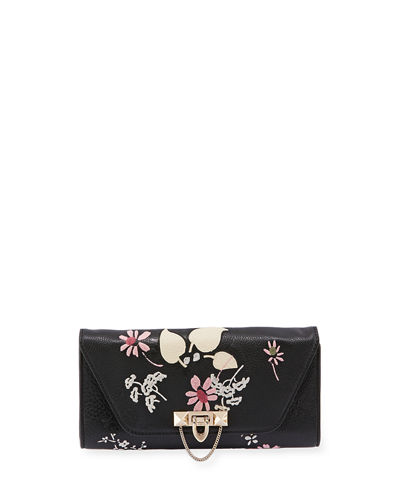 Valentino Garavani Demilune Embroidered Chain Clutch Bag