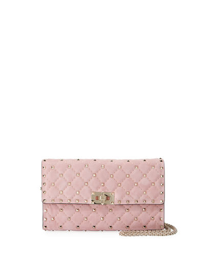Rockstud Spike Quilted Suede Chain Shoulder Bag