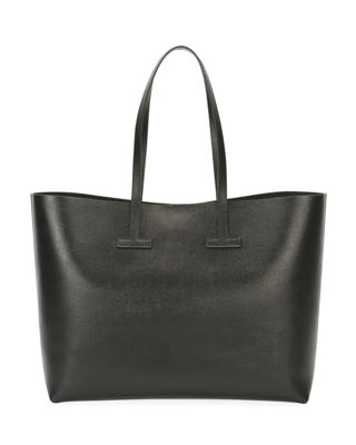 Saffiano Large Leather T Tote Bag in Light Gray