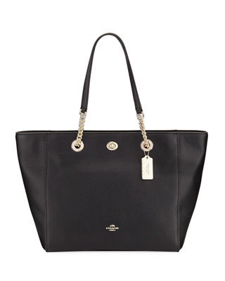 Image 1 of 3: Turn-Lock Chain Pebbled Tote Bag