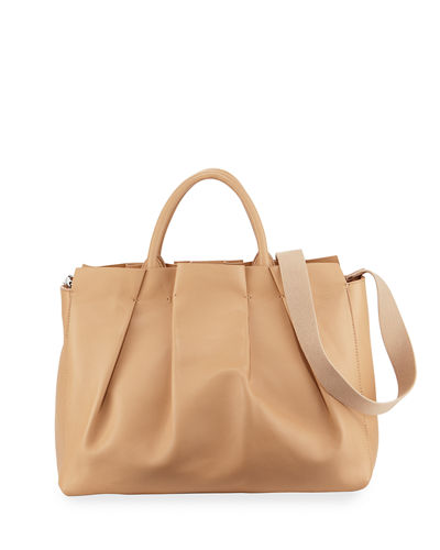 THE ROW Peggy Pleated Leather Tote Bag