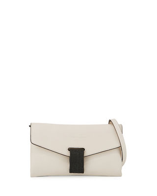 Image 1 of 3: Leather Flap Monili-Tab Crossbody Bag