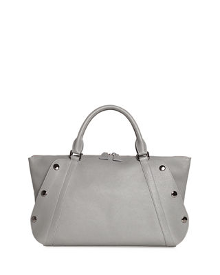 Aimee Small Bicolor Leather Satchel Bag, Gray