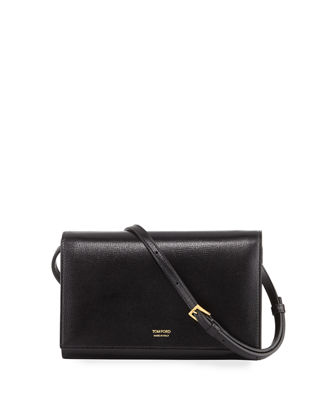 TOM FORD Saffiano Leather Wallet on Crossbody Strap