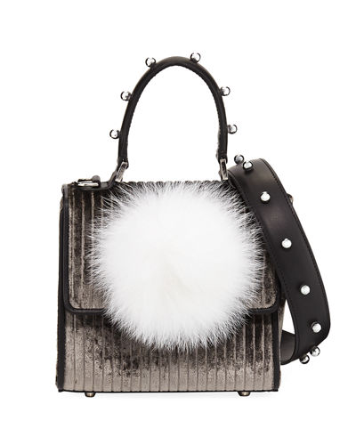 Micro Alex Bunny Velvet & Leather Satchel Bag