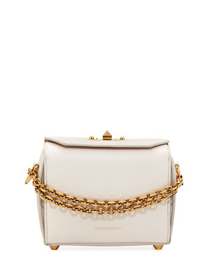 Box 19 Silky Leather Satchel Bag W/ Removable Chains, Off White