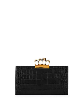 Knuckle Silky Crocodile-Embossed Flat Clutch Bag in Black