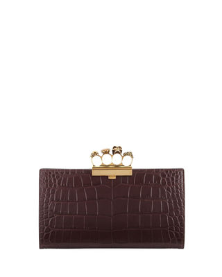 Knuckle Silky Crocodile-Embossed Flat Clutch Bag, Maroon in Red