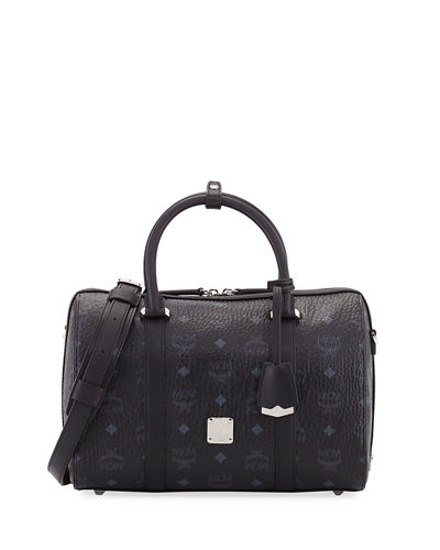 MCM Signature Visetos Original Boston Satchel Bag