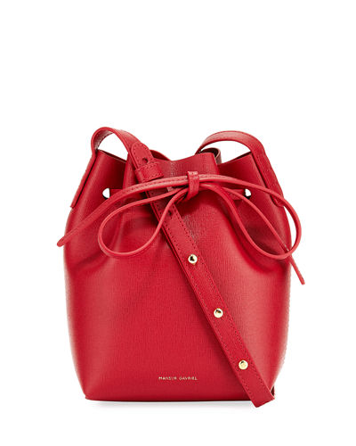 Mini Mini Saffiano Leather Bucket Bag