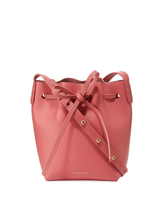 Image 1 of 2: Mini Mini Saffiano Leather Bucket Bag