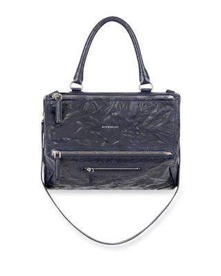 'MEDIUM PEPE PANDORA' LEATHER SATCHEL - BLUE