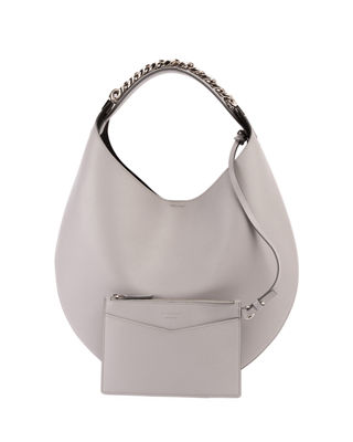 Image 1 of 2: Infinity Small Leather Chain Hobo Bag