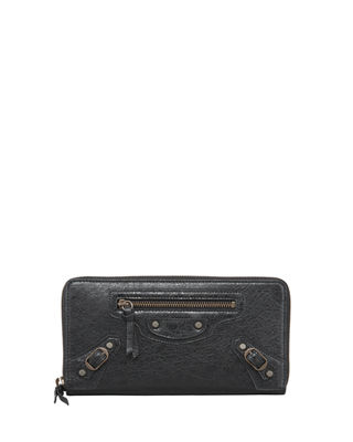 Image 1 of 2: Classic Continental Lambskin Zip-Around Wallet