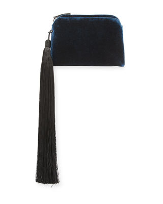 Image 1 of 3: Velvet Mini Wristlet Bag with Tassel