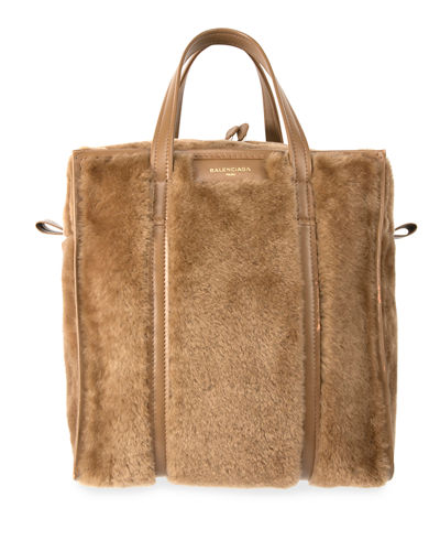Balenciaga Bazar Shopper Small Shearling Fur Bag