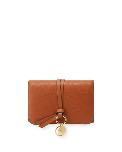 Alphabet Pebbled Leather Compact Wallet