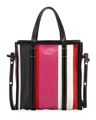 Bazar Shopper Small Striped Leather Tote Bag, Blue/Multi