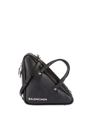 Small Triangle Leather Shoulder Bag, Black