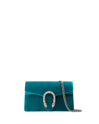 Super Mini Dionysus Velvet Shoulder Bag - Blue