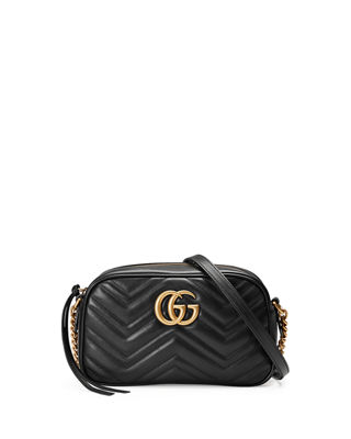 Gg Marmont Camera Small Quilted Leather Shoulder Bag in Black