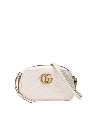 Small Gg Marmont 2.0 Matelasse Leather Camera Bag - White in Mystic White