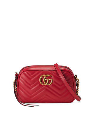 Gg Marmont Small Matelassé Shoulder Bag in Red