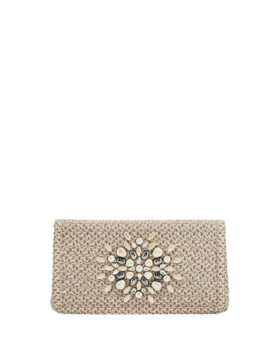 Devi Straw Embellished Clutch Bag
