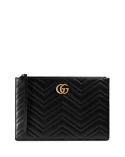Gucci Small Zip-Top Flat Pouch Wristlet Bag