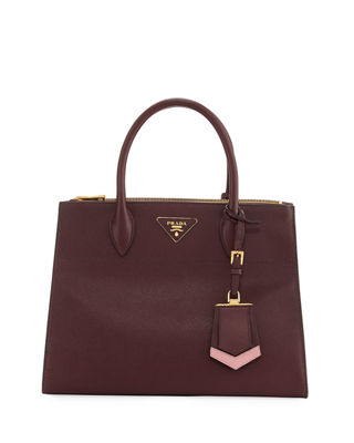 Paradigme Bag Nera In Pelle Saffiano Bordeaux in Red/Pink