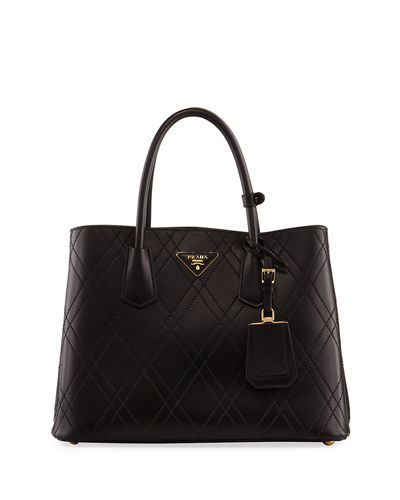 Prada Quilted Double Large Leather Top Handle Bag