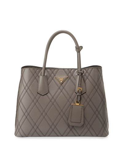 Quilted Double Large Leather Top Handle Bag