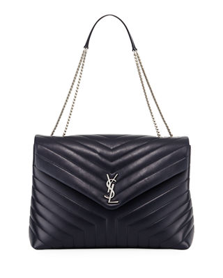 Loulou Monogram Large V-Flap Chain Shoulder Bag - Nickel Oxide Hardware