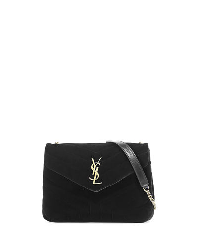 Saint Laurent LouLou Monogram Small Velvet Shoulder Bag