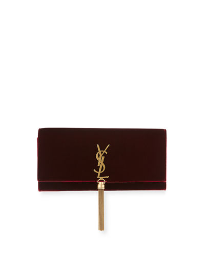 Saint Laurent Kate Monogram Velvet Clutch Bag