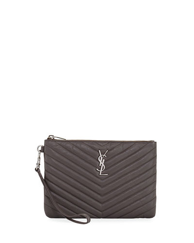 Monogram Quilted Pouch Wristlet Wallet