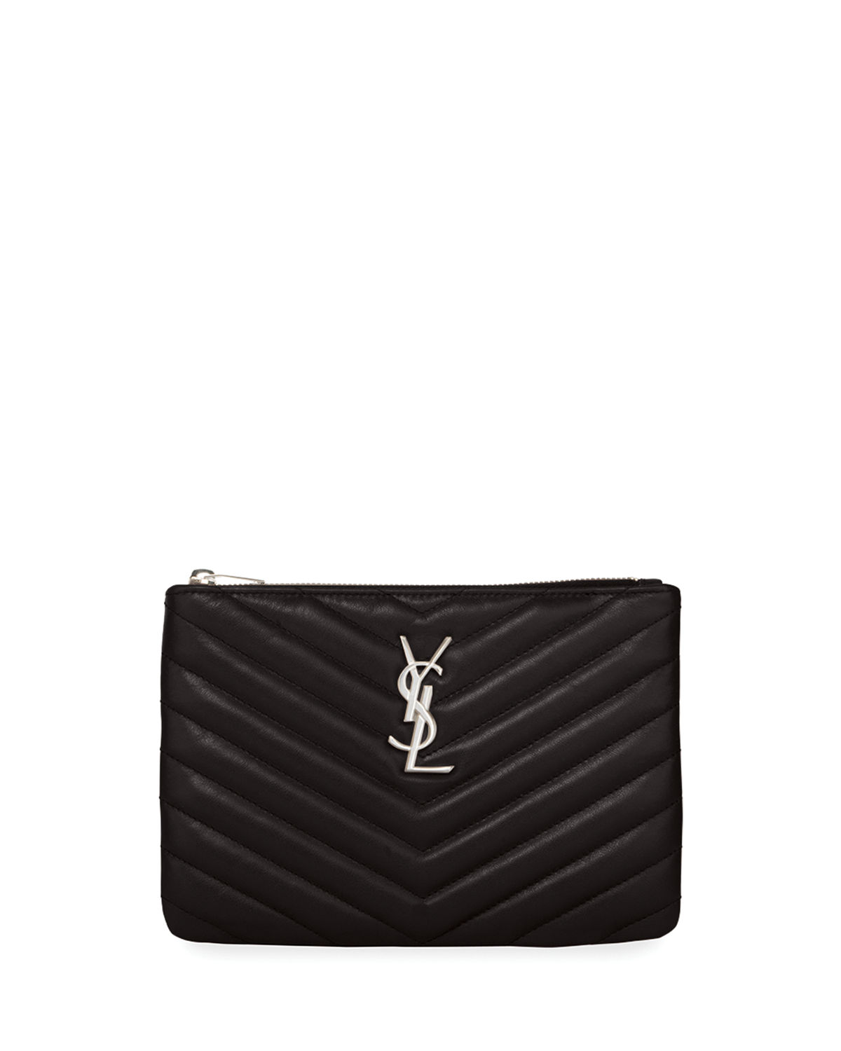 ec68c579a3aa Saint LaurentMonogram YSL Small Chevron Quilted Zip-Top Pouch Bag - Silver  Hardware