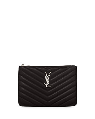 48ee6126b2e6 Saint Laurent Monogram YSL Small Chevron Quilted Zip-Top Pouch Bag - Silver  Hardware