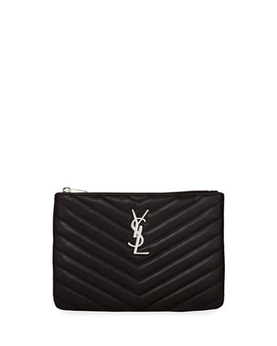 Monogram YSL Small Chevron Quilted  Zip-Top Pouch Bag - Silver Hardware