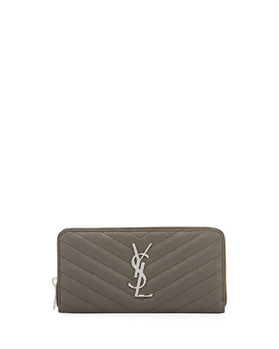 Monogram YSL Quilted Leather Zip-Around Wallet