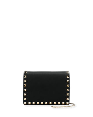 ROCKSTUD LEATHER POUCH WALLET ON A CHAIN - BLACK