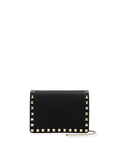 Valentino Garavani Rockstud Vitello Chain Clutch Bag