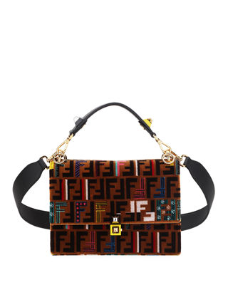 Fendi Kan I Medium Velvet Shoulder Bag