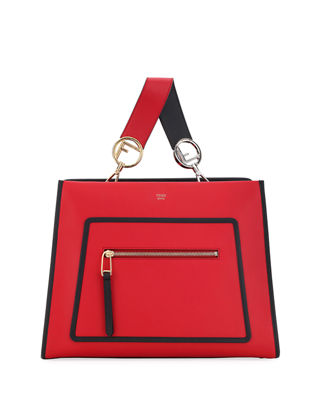 Runaway Small Two-Tone Leather Tote Bag